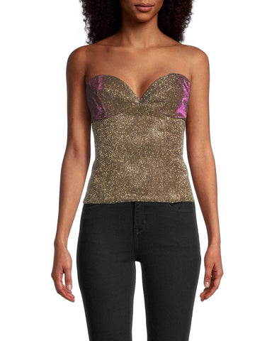 Gold Sparkle Bustier In Iridescent Gold