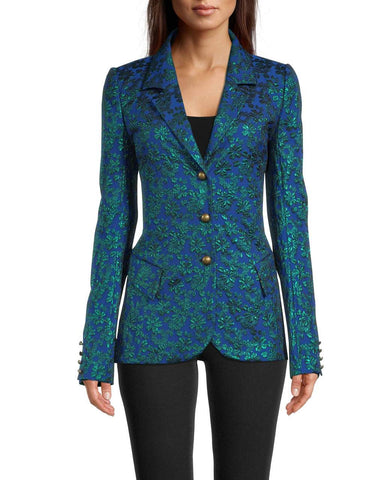 METALLIC FLORAL JACQUARD BLAZER in BLUE