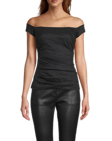 LOLA COTTON METAL TOP in BLACK