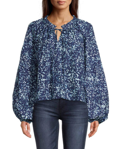 EVENING GARDEN PEASANT BLOUSE in BLUE MULTICOLOR
