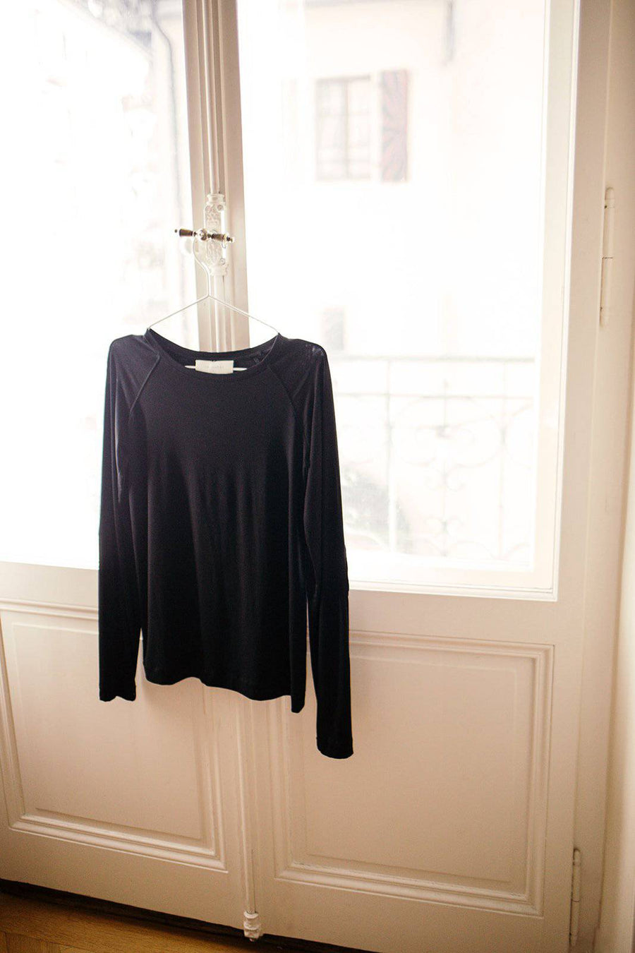 Long Sleeve Tee with leather trim - VERONICA GAUTSCHI