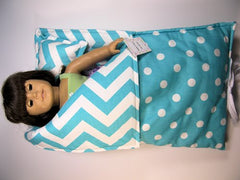 "18"" Doll Sleeping Bag in Girly Blue and White Dot with Chevron Print - Buttons and Bows  - 2"
