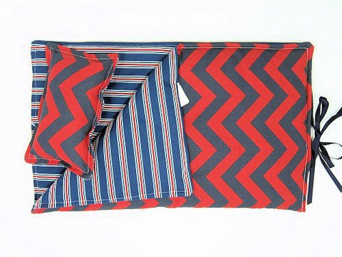 "18"" Doll Sleeping Bag - Red/Blue Chevron Print"