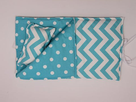 "18"" Doll Sleeping Bag - Girly Blue and White Chevron Print"