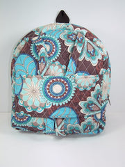 Tag Along Backpack with doll carrier in Blue and Brown Print - Buttons and Bows  - 1