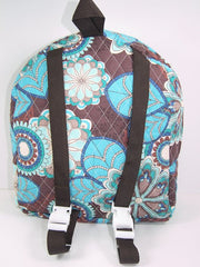 Tag Along Backpack with doll carrier in Blue and Brown Print - Buttons and Bows  - 3