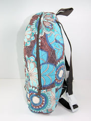 Tag Along Backpack with doll carrier in Blue and Brown Print - Buttons and Bows  - 4