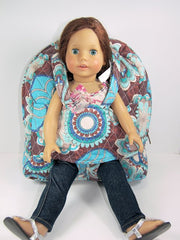 Tag Along Backpack with doll carrier in Blue and Brown Print - Buttons and Bows  - 2