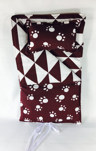 "18"" Doll Sleeping Bag - Maroon and White Prints"