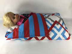 "18"" Doll Sleeping Bag - Re/White/Blue Prints"