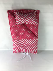 "18"" Doll Sleeping Bag - Candy Pink and White Small Chevron Print"