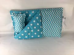 "18"" Doll Sleeping Bag - Girly Blue Small Chevron Print"