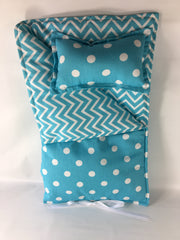"18"" Doll Sleeping Bag - Girly Blue Medium Chevron Print"