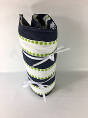 "18"" Doll Sleeping Bag- Navy/Lime Green/White Prints"