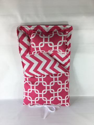 "18"" Doll Sleeping Bag = Candy Pink and White Prints"