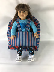 "18"" Doll Tag Along Backpack - Red/Blue/White Print"