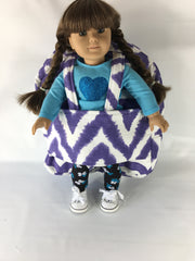 "18"" Doll Tag Along Backpack - Purple and White Prints"