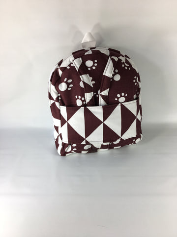 "18"" Doll Tag Along Backpack - Maroon and White Prints"