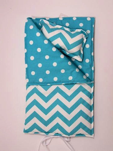 "18"" Doll Sleeping Bag in Girly Blue and White Chevron Prin - Buttons and Bows  - 1"