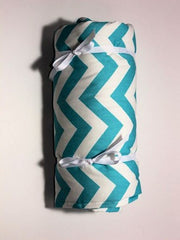 "18"" Doll Sleeping Bag in Girly Blue and White Chevron Prin - Buttons and Bows  - 2"