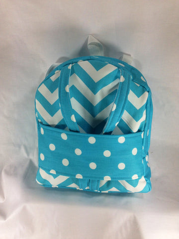 "18"" Doll Tag Along Backpack Doll Carrier - Girly Blue and White Chevron Print"