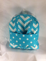 Tag Along Girls Backpack with Doll Carrier in Girly Blue and White Chevron Print - Buttons and Bows  - 1