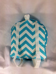 Tag Along Girls Backpack with Doll Carrier in Girly Blue and White Chevron Print - Buttons and Bows  - 4