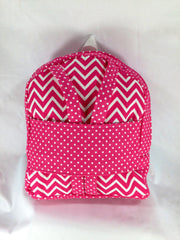 Tag Along Girls Backpack with Doll Carrier in Candy Pink and White Chevron - Buttons and Bows  - 1