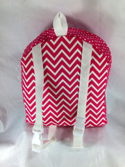 Tag Along Girls Backpack with Doll Carrier in Candy Pink and White Chevron - Buttons and Bows  - 4