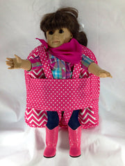 Tag Along Girls Backpack with Doll Carrier in Candy Pink and White Chevron - Buttons and Bows  - 2