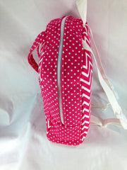 Tag Along Girls Backpack with Doll Carrier in Candy Pink and White Chevron - Buttons and Bows  - 3