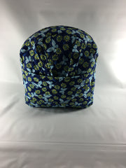 Tag Along Backpack with Doll Carrier in Navy Print - Buttons and Bows  - 1