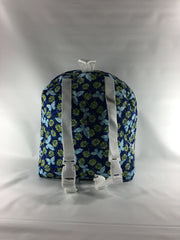 Tag Along Backpack with Doll Carrier in Navy Print - Buttons and Bows  - 4