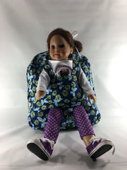 Tag Along Backpack with Doll Carrier in Navy Print - Buttons and Bows  - 2