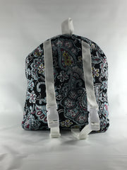 Tag Along Backpack with Doll Carrier in Multi Color Paisley Print - Buttons and Bows  - 4