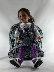 Tag Along Backpack with Doll Carrier in Multi Color Paisley Print - Buttons and Bows  - 2