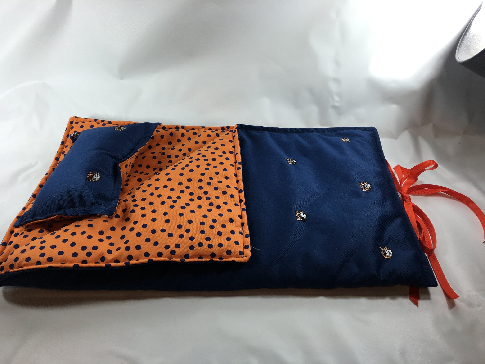 "Blue and Orange Print 18"" sleeping bag - Buttons and Bows  - 1"