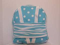 Tag Along Backpack with Doll Carrier in Girly Blue Dot with zebra print - Buttons and Bows  - 1