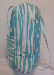 Tag Along Backpack with Doll Carrier in Girly Blue Dot with zebra print - Buttons and Bows  - 3