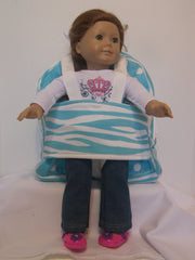 Tag Along Backpack with Doll Carrier in Girly Blue Dot with zebra print - Buttons and Bows  - 2