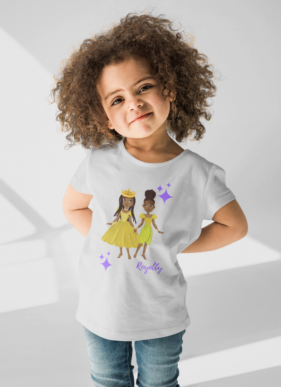The Twins: Minta and Aria Toddler Classic T-shirt (Purple Lettering)