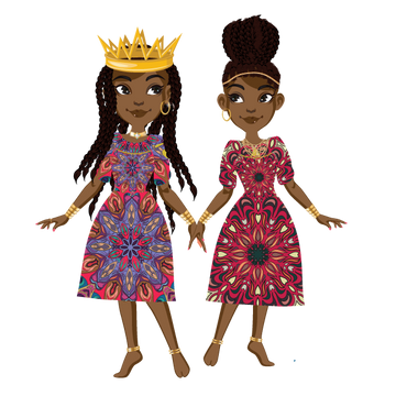 The Twins: Minta and Aria Sticker with African Print
