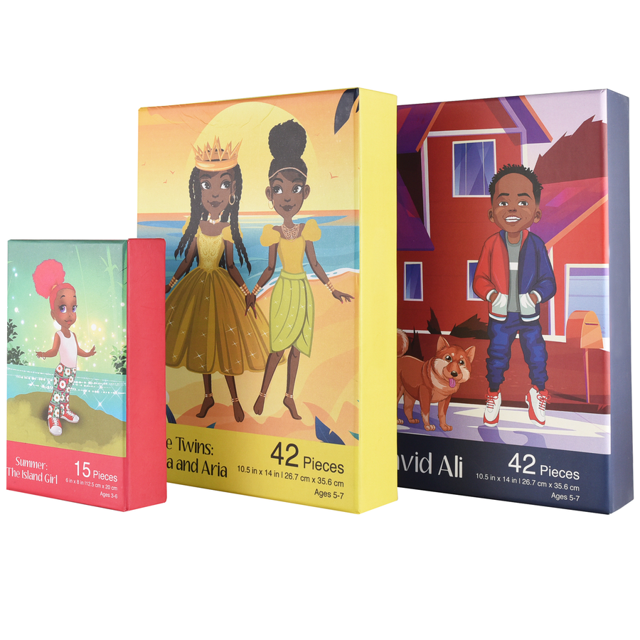 Bundle Puzzle Set: David Ali, The Twins: Minta and Aria, and Summer the Island Girl Puzzle