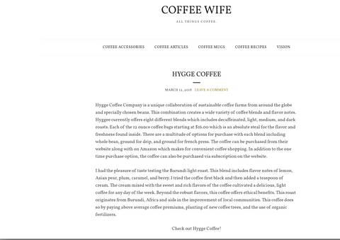 Coffee Wife Blog Hygge Coffee Company Review