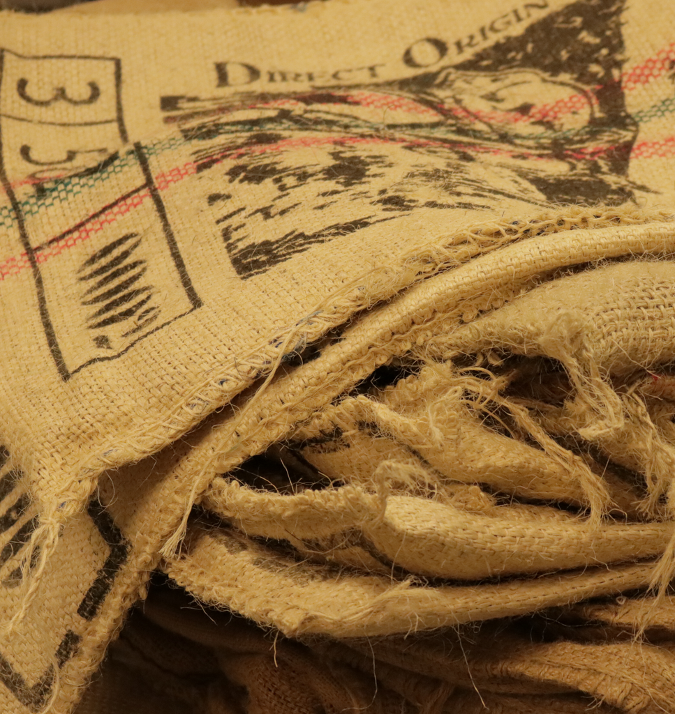 Used Burlap Coffee Bags - Hygge Coffee Company // Direct Trade Wholesale and Retail Coffee Roaster in Missoula, Montana