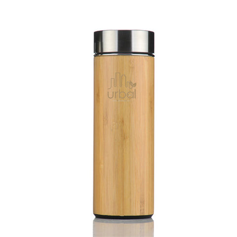 Bamboo thermos bottle with infuser