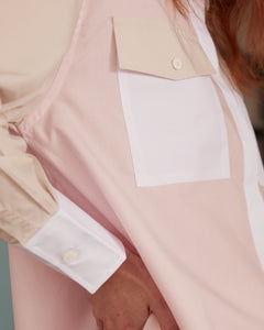 Linda shirt color block warm beige - powder pink