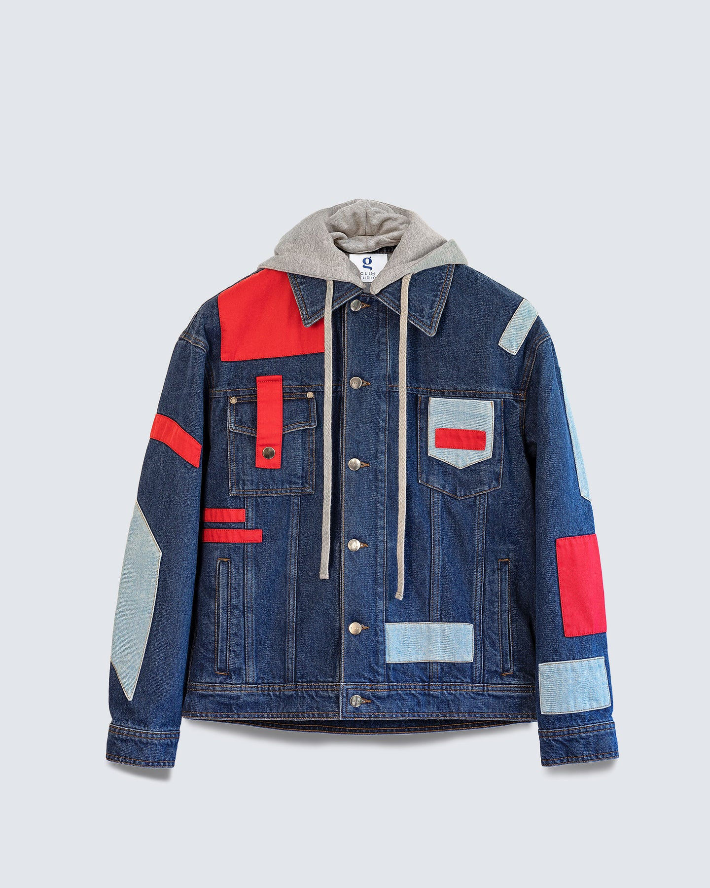 Load image into Gallery viewer, Wonderwall Denim Jacket Dark Blue with a removable hood