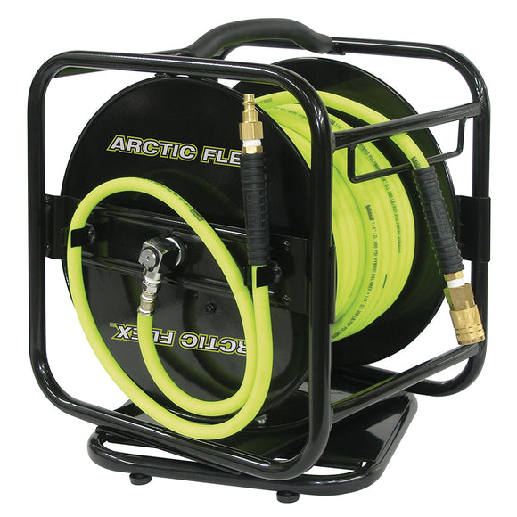 MANUAL AIR HOSE REEL W/HYBRID POLYMER AIR HOSE 1/4