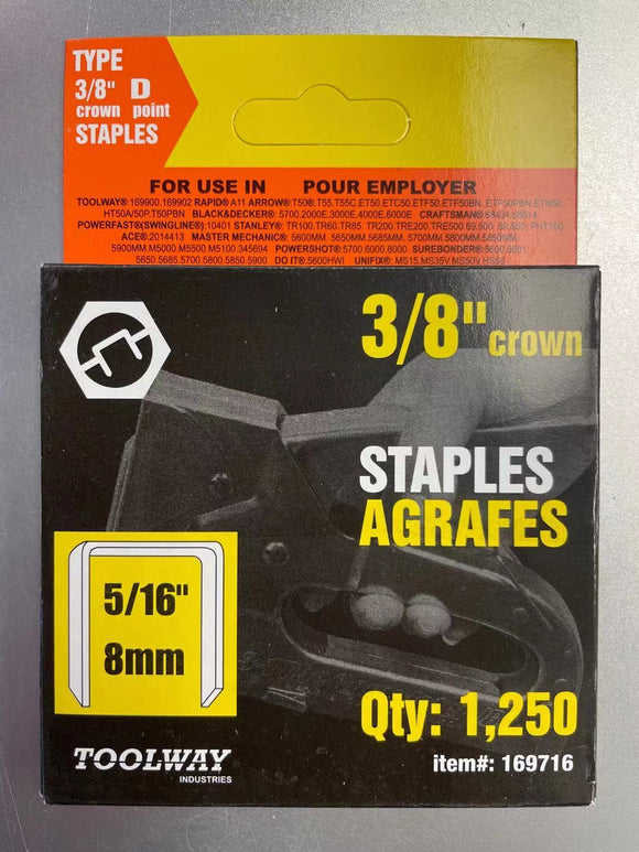 STAPLES T50 5/16in 8mm - Box of 1250